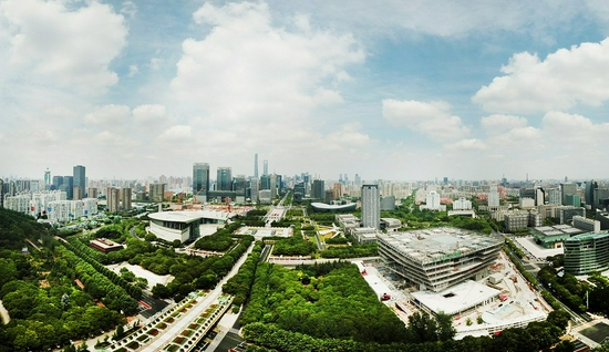 Aerial photo taken on May 22, 2020 shows a view of Pudong New Area, east China's Shanghai. (Xinhua/Fang Zhe)